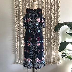 NWT River Island Blue Embroidery Floral  Dress